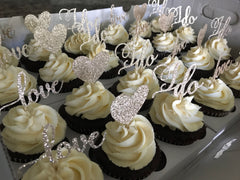 Wedding Red Velvet Cupcakes with Special Toppers
