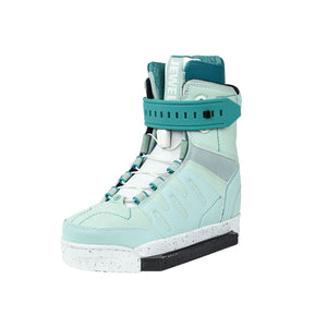 New 2020 women's Slingshot wake boots on sale. New product. Side view.