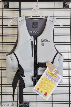 Follow men's wake vest. Front view, grey in color.