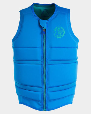 Follow men's wake comp vest. Front view, blue in color.