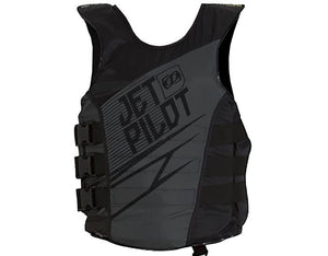 Jet Pilot brand life vest. Back view. Black in color.