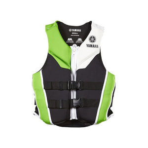 Ladies Yamaha Neoprene Life Jacket Green, front view.