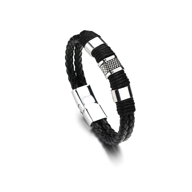 Braid Leather  Magnetic Clasp Bracelet
