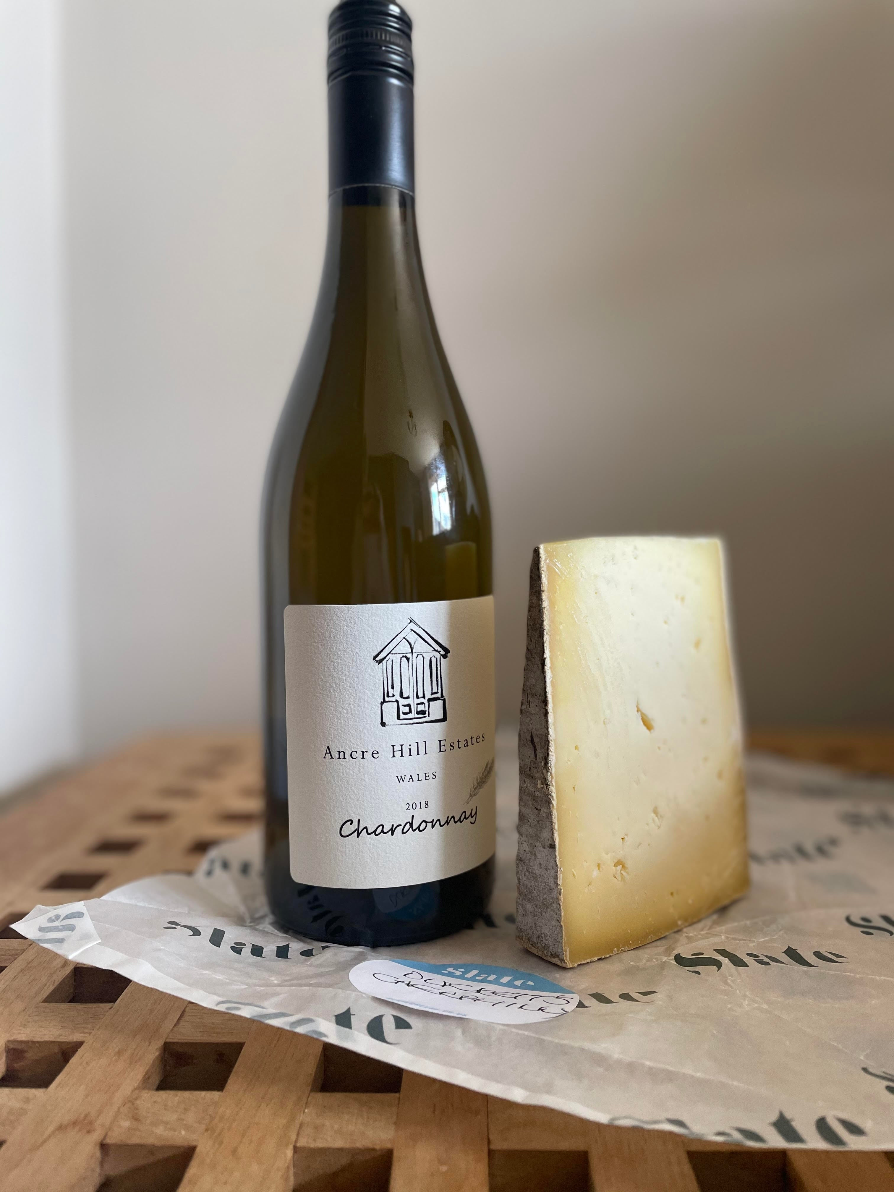 Duckett's Caerphilly with a bottle of Ancre Hill Estate Chardonnay 2018