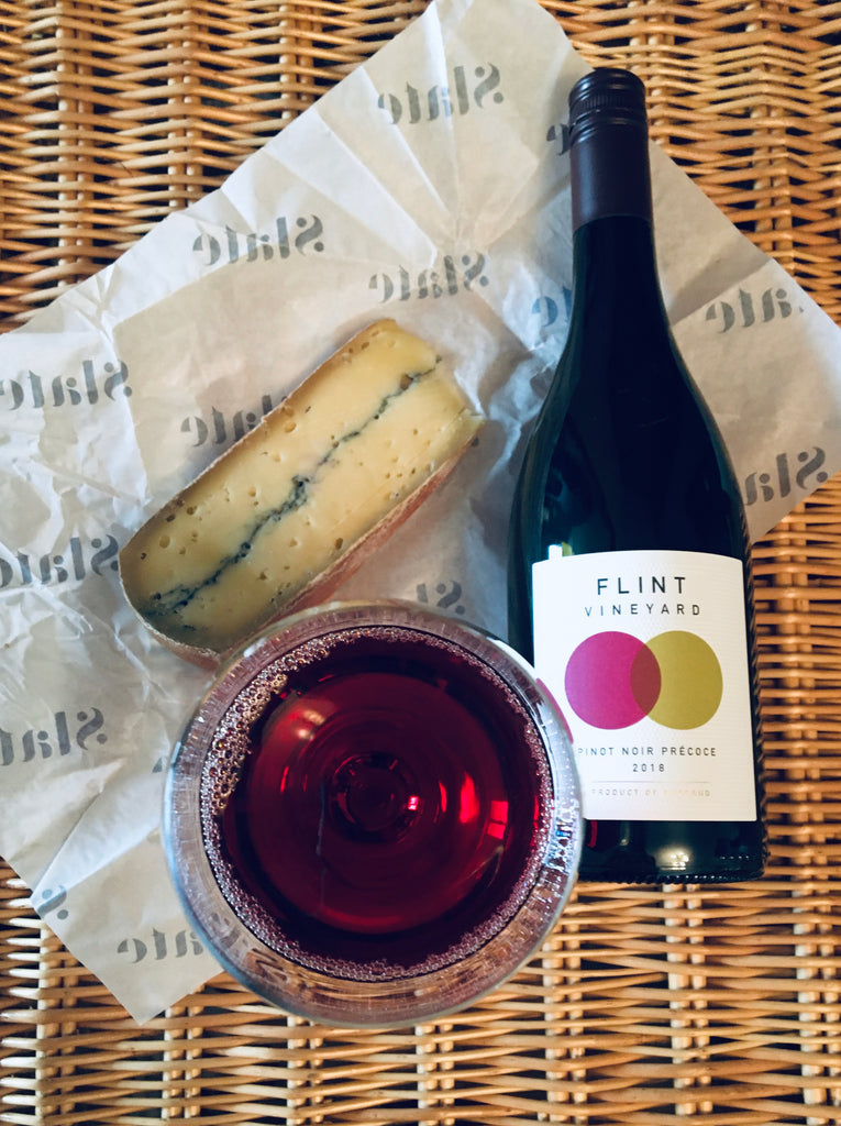 Flint Vineyard Pinot Noir Précoce with Morbier