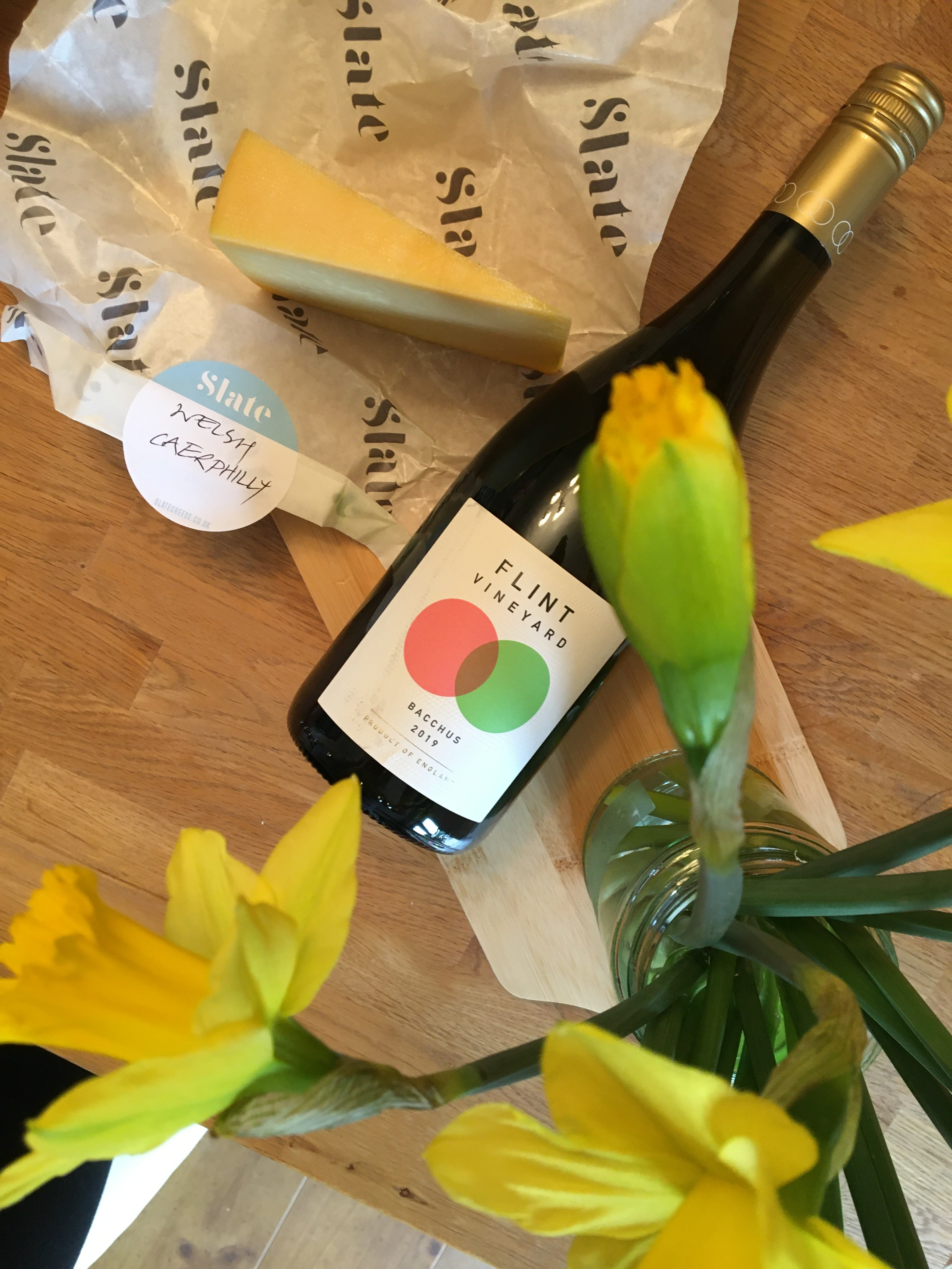 Caws Teifi Traditional Welsh Caerphilly with a bottle of Flint Vineyard's Bacchus