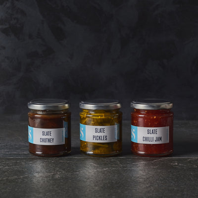 Slate Pickle, Chilli Jam & Chutney Trio