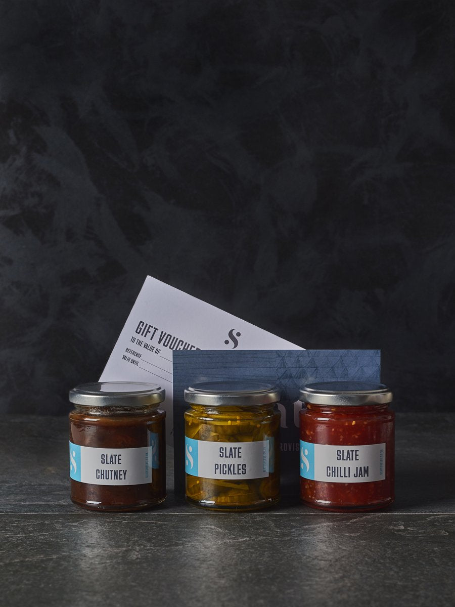 Slate Pickle, Chilli Jam & Chutney Trio with Slate gift voucher