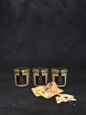 Three jars of ArteMonte Wild Meat Pâtés