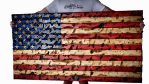 """The GIANT"" Full Color Rustic American Flag 60"" x 32"""