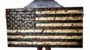 """The GIANT"" Burnt Rustic American Flag 60"" x 32"""