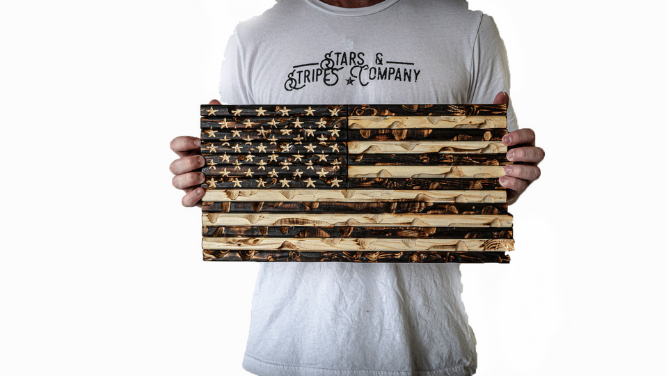 "18"" x 9"" Burnt Rustic Mini Flag"