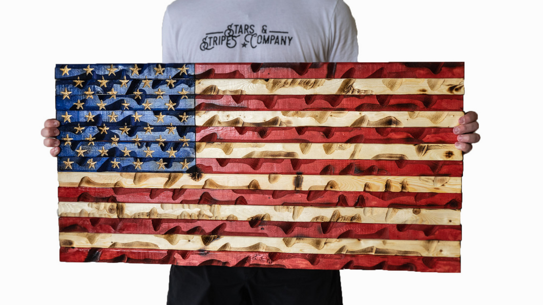 "Full Color Rustic American Flag 37"" x 20"""
