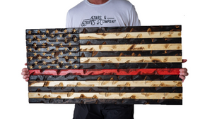 "Thin Red Line Flag (Firefighter Awarness) 37"" x 20"""