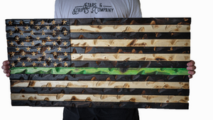 "Thin Green Line Flag (Military Awarness) 37"" x 20"""