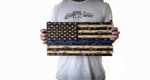 "Blue Line 18"" x 9"" Burnt Rustic Mini Flag"