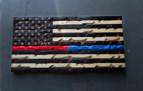 "Thin Red/Blue Line Flag (Police & Fire Awareness) 37"" x 20"""