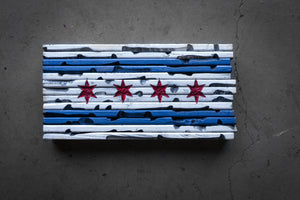 "18"" x 9"" Rustic Chicago Flag"