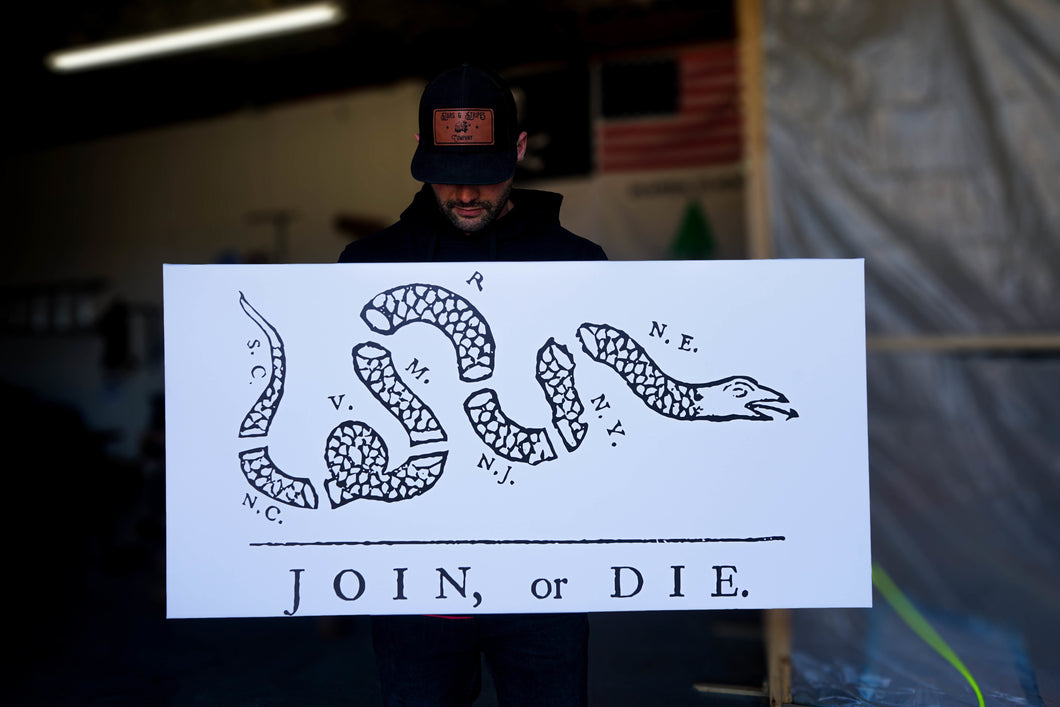 Join or Die Canvas White