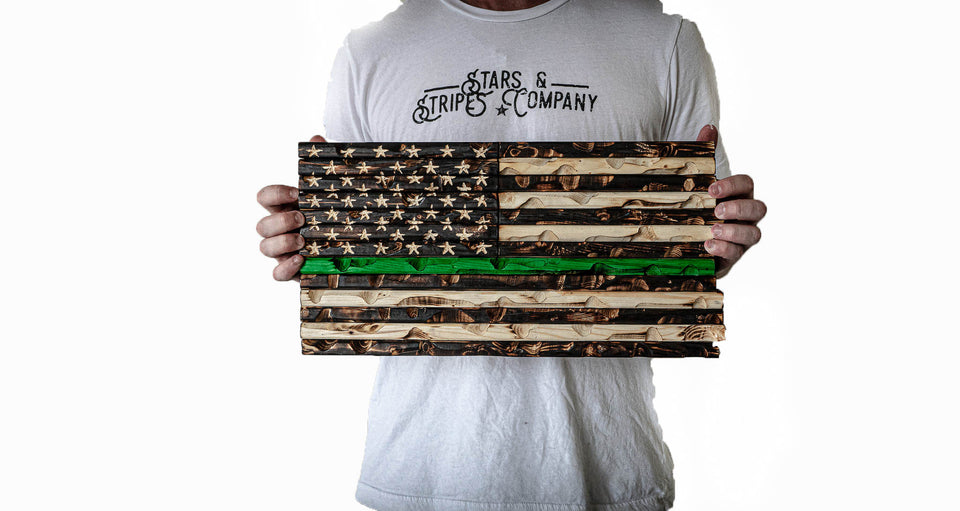 "Green Line 18"" x 9"" Burnt Rustic Mini Flag"