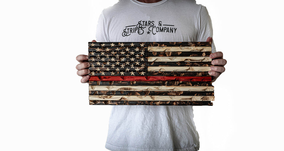 "Red Line 18"" x 9"" Burnt Rustic Mini Flag"