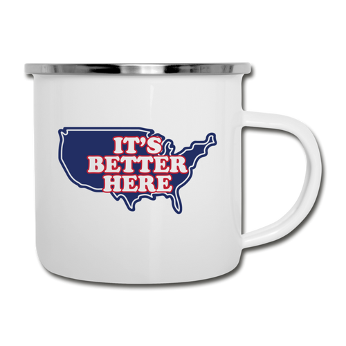 It's Better Here Camper Mug - white