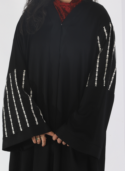 Black Abaya With Half Cut Sleeves( Front Open)