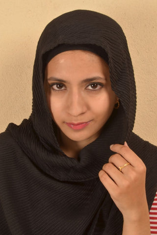 Black Cotton Pleated Hijabs - Fakhur