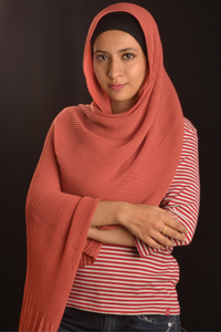 Indian Red Pleated Chiffon Hijab - Fakhur