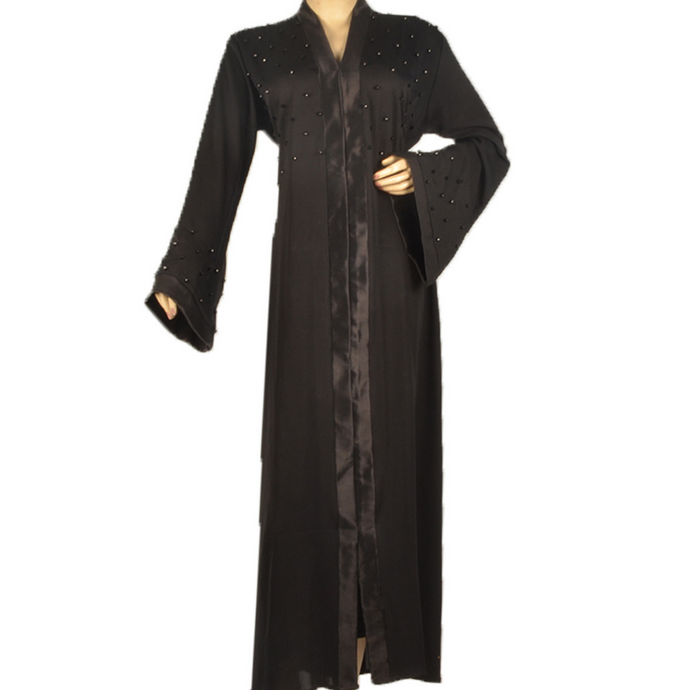 Black Abaya With Crystals( Front Open)