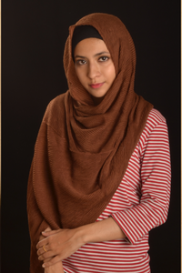 Brown Cotton Pleated Hijab