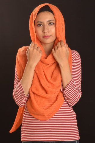 Orange Cotton Pleated Hijab - Fakhur