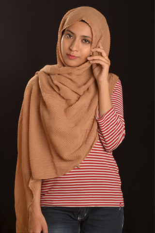 Nude Cotton Pleated Hijab - Fakhur