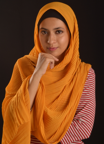 Yellow Pleated Chiffon Hijab - Fakhur