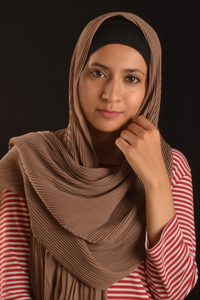 Coffee Chiffon Pleated Hijab - Fakhur