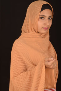 Latte Pleated Chiffon Hijab - Fakhur