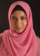 Load image into Gallery viewer, Pink Pleated Chiffon Hijab