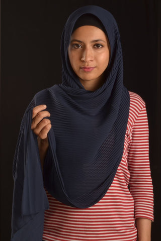 Navy Blue Pleated Chiffon Hijab - Fakhur