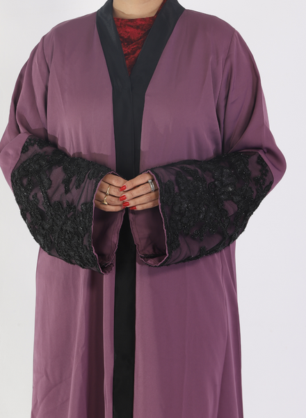 Mauve Abaya With Half Netted Sleeve( Front Open)