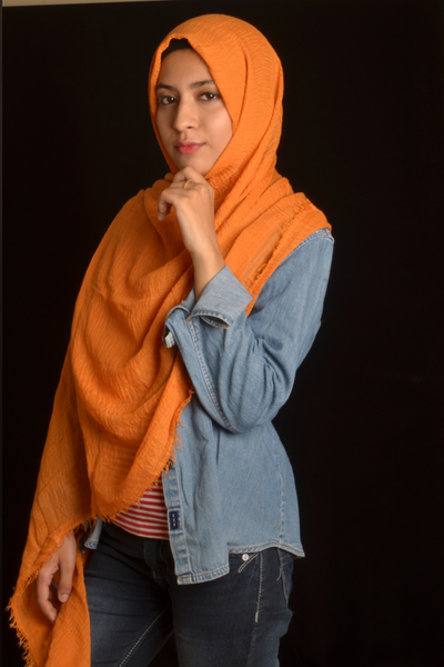 Carrot Wrinkle/Crinkle Cotton Hijab - Fakhur