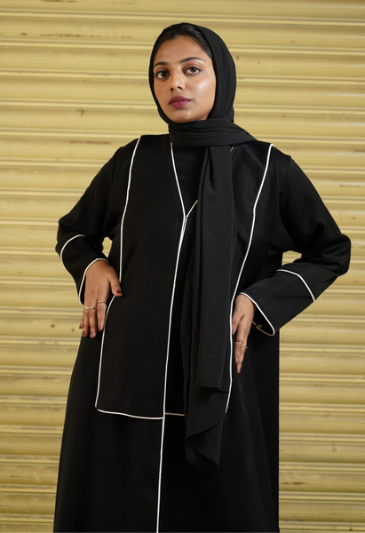 Black Abaya With Rectangle Lapel.