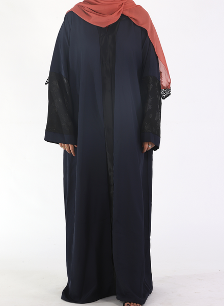 Navy Blue Abaya with Half Floral Half Sleeves( Front Open)