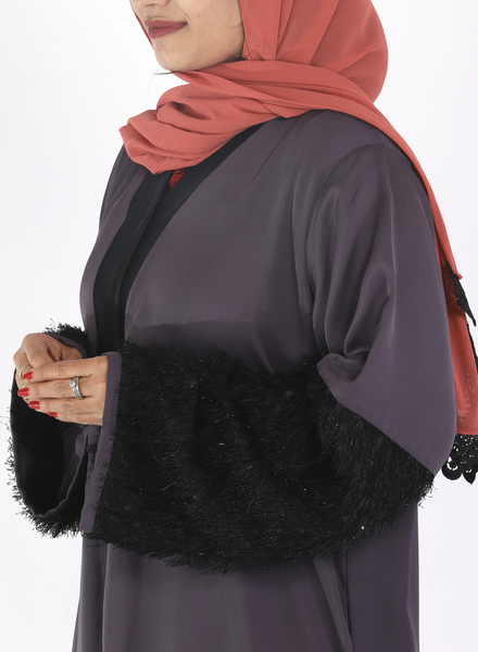 Grey Abaya With Fur On Sleeves( Front Open)