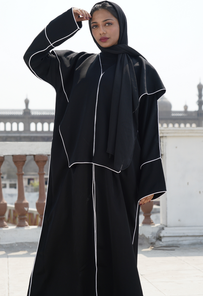Pentagon Cut Lapel Abaya with White Piping( Front Open)
