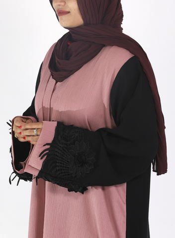 Crinkle Rose and Black Abaya with Flowers on Sleeves (Front Open)