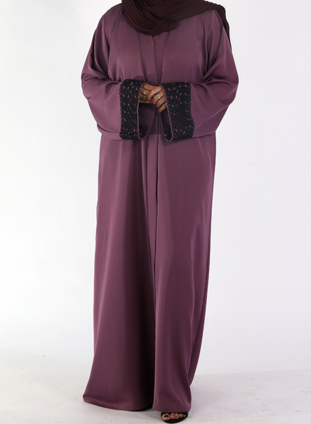Mauve Abaya with Lace on Sleeves(Front Open)
