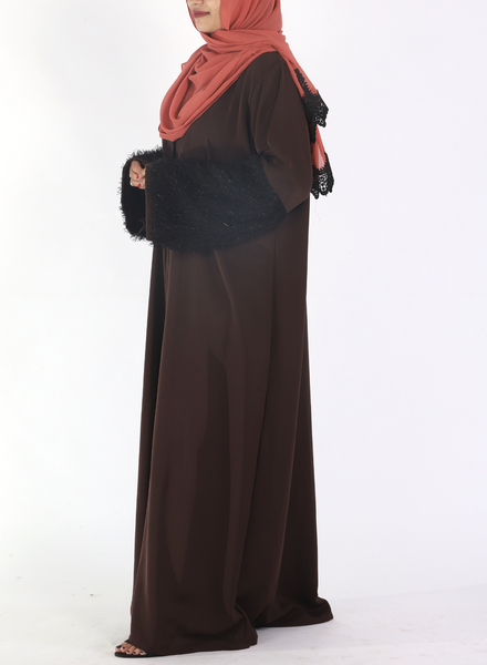 Brown Abaya With Fur On Sleeves (Front Open)