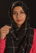 Load image into Gallery viewer, Black Grid Hijab