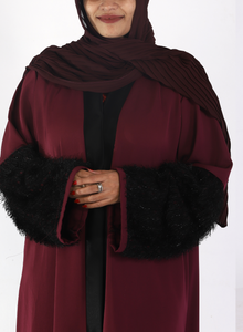 Mulberry Abaya With Fur On Sleeves (Front Open)
