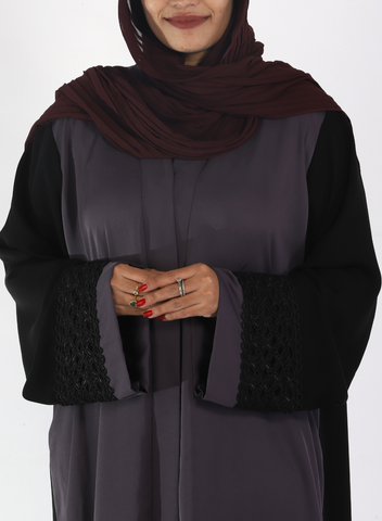 Grey and Black Abaya Front Open With Lace on Sleeves( Front open)